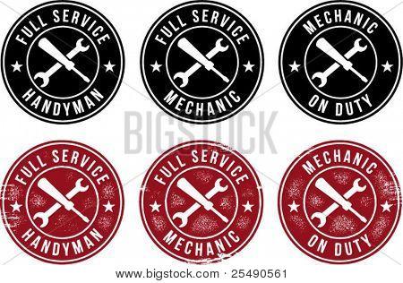 Mechanic/Handyman Vintage Style Stamps