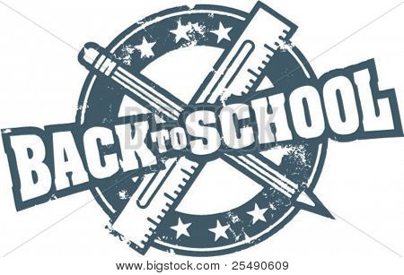 Back to School Vintage Rubber Stamp