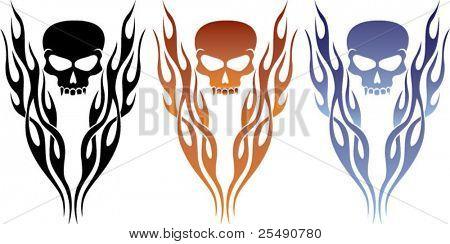 Flame and Skull Tattoo