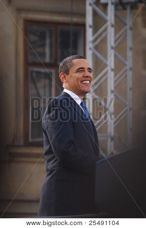PRAGUE - APRIL 4: US President Barack Obama smiles during his speech about a nuclear-free near Prague Castle April 4, 2009 in Prague, Czech Republic.