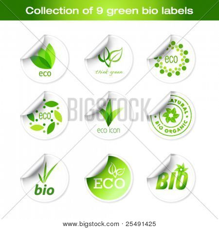 Collection of green bio stickers