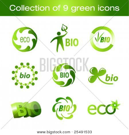 Collection of green icons