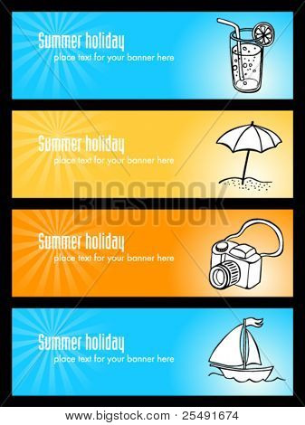 Summer holiday banners with illustrations
