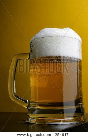 Beer Mug Over Yellow