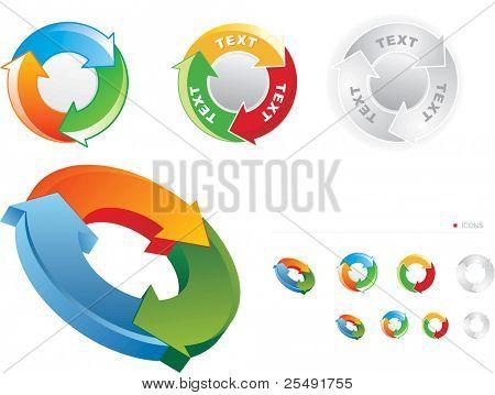 Conjunto de símbolos de reciclaje estilizadas