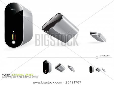 Illustration of three external drives