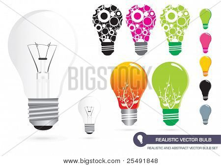 Realistic and Abstract Vector Bulb Set