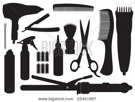 Vector Set Of Hairdressing Accessories