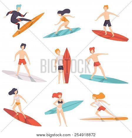 Surfer People Riding Surfboards Set