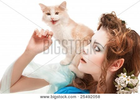 beautiful elven girl with kitten