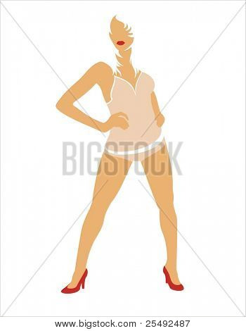Blonde woman silhouette in red shoes