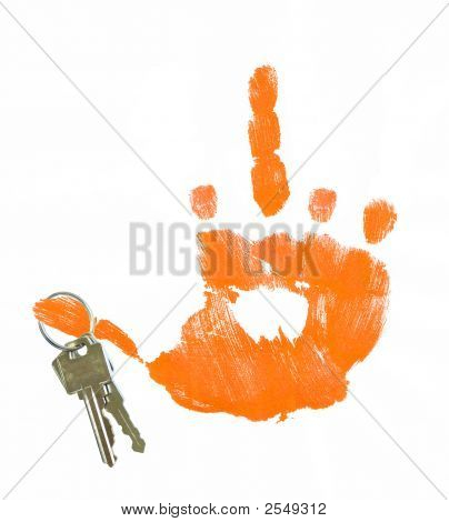 Hand Print Giving Flip Sign With Keys