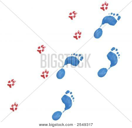 People And Dog Footprints