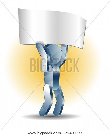 Vector business concept.Iron man holding blank poster