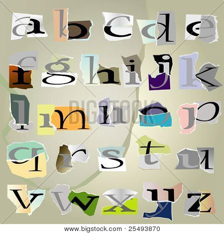 vector set alphabet:small collage latters based on ripped paper pieces.