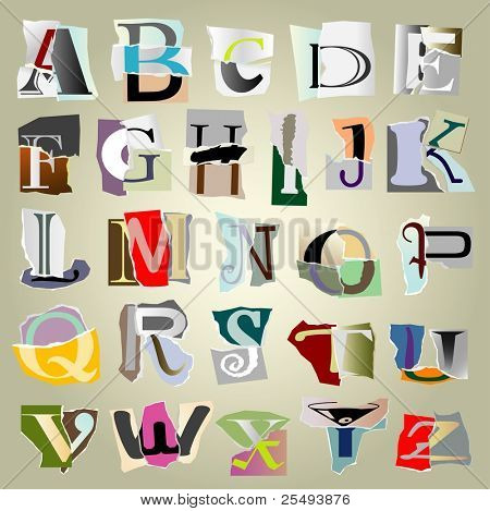vector set alphabet:big collage latters based on ripped paper pieces