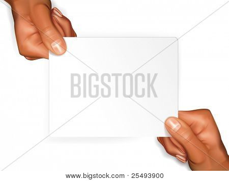 Vector hands with blank sheet