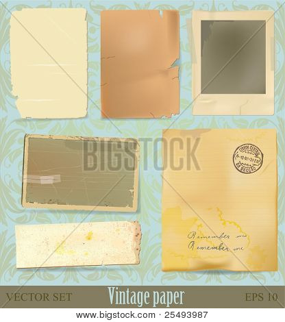 Vector vintage paper and scrap collection