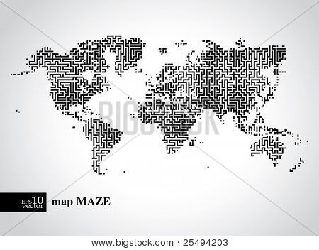 Vector earth maze map concept