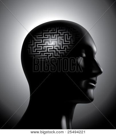 Vector brainstorm: brain maze concept