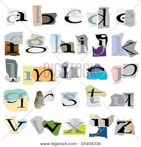 Small collage letters based on ripped paper pieces.:raster version
