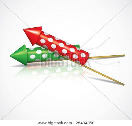 Vector fireworks rockets