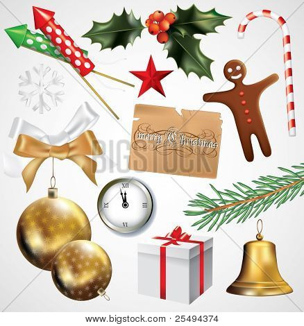 Vector christmas and new year set