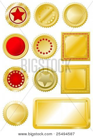 Golden-red signs and labels set