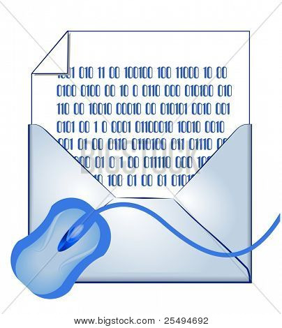 E-mail concept: opened envelope, binary coded letter and mouse