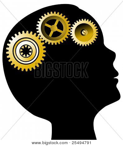 Head profile and golden gears; mental health concept