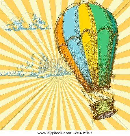 Retro background with hot air balloon; vector file also available in my gallery