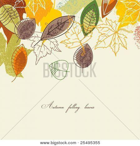 Folhas de outono caindo fundo