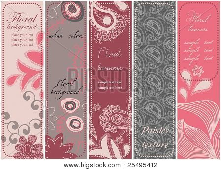 Vertical floral banners collection in urban colors
