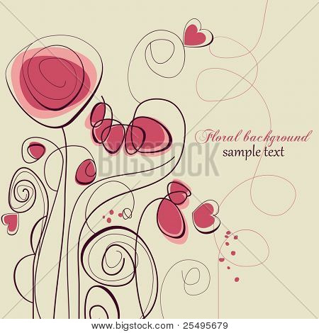 Cute floral background, love message