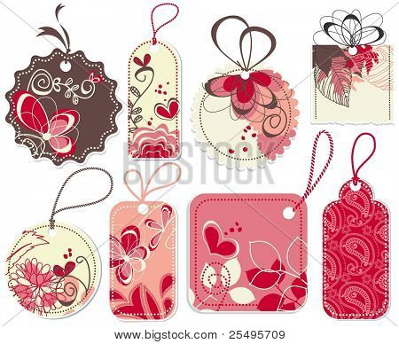 Cute price tags collection, flowers and hearts ornaments