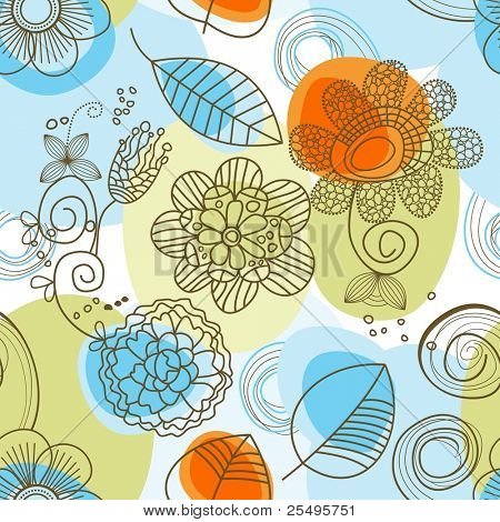 Whimsical floral background (seamless)