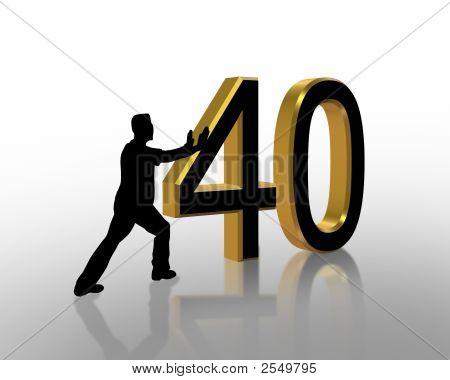 Birthday Pushing 40 3D Graphic