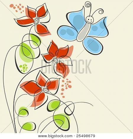 Cute flowers and butterfly
