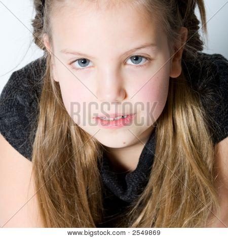 Blond Child Making Eye Contact
