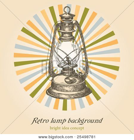 Retro lamp background; creativity concept