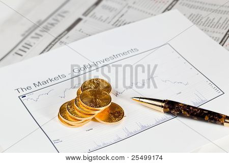 Golden Eagle Coins On Newspaper