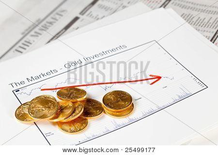 Golden Eagle Coins On Newspaper