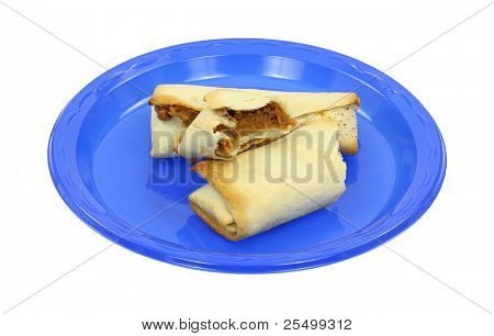 Bitten Burrito On Blue Plate.