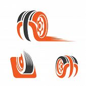 Car Wheel Logo Abstract, Creative And Modern Logo For Industry And Business, Vector Logo Templates,  poster