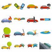 Accident Car Crash Case Icons Set. Flat Illustration Of 16 Accident Car Crash Case Icons Isolated On poster