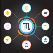Set Of Astrology Icons Flat Style Symbols With Astrologer, Telescope, Scorpion And Other Icons For Y poster