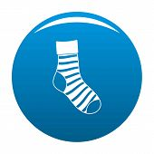 Striped Sock Icon. Simple Illustration Of Striped Sock Icon For Any Design Blue poster