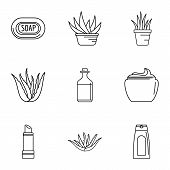 Private Salon Icons Set. Outline Set Of 9 Private Salon Vector Icons For Web Isolated On White Backg poster