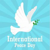 Pigeon International Peace Day Background. Flat Illustration Of Pigeon International Peace Day Vecto poster
