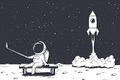 Astronaut Photographs Himself On Moon Against The Background Of A Rocket .space Theme.vector Illustr poster
